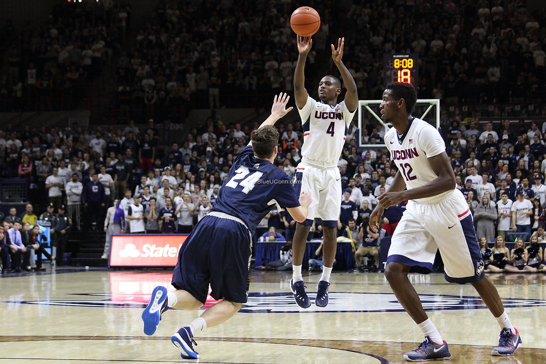 UConn's Sterling Gibbs (4) puts up a three-pointer. Gibbs hit five three's on the evening.