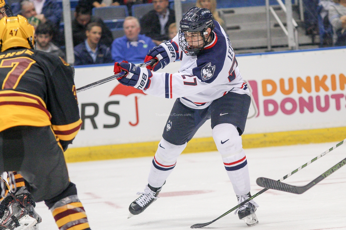 UConn's Max Letunov (27) shoots the puck during the UConn Huskies vs Arizona State Sun Devils men's hockey game at the XL Center in Hartford, CT on October 16, 2015.